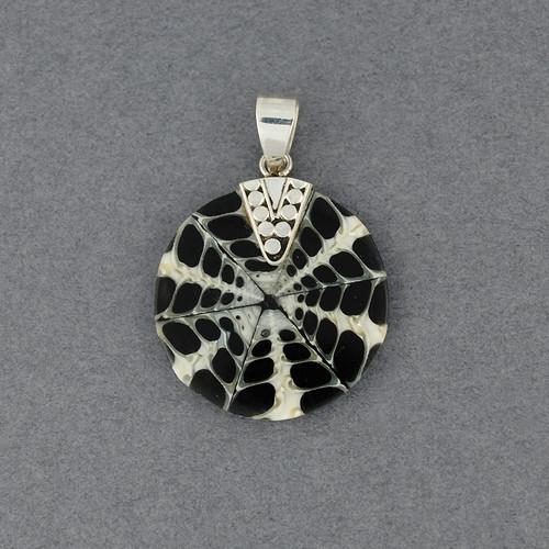Small Mosaic Black & White Shell Pendant