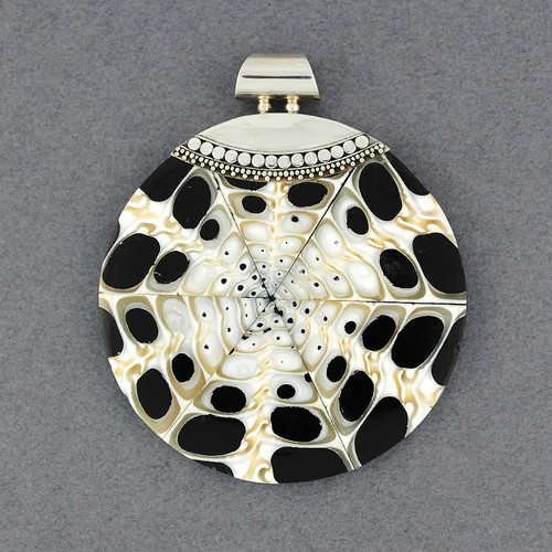 Mosaic Black & White Shell Pendant