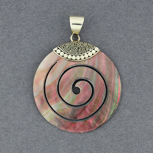 Black Mother of Pearl Dotted Spiral Pendant