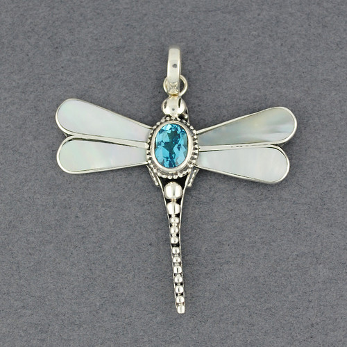Mother of Pearl & Blue Topaz Dragonfly Pendant
