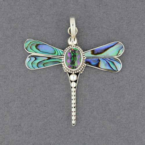 Abalone & Mystic Topaz Dragonfly Pendant