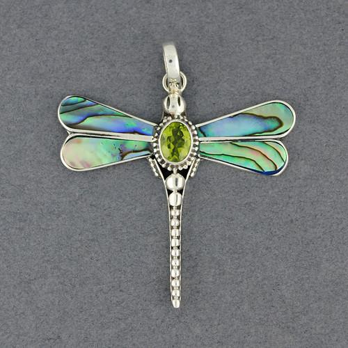 Abalone & Peridot Dragonfly Pendant