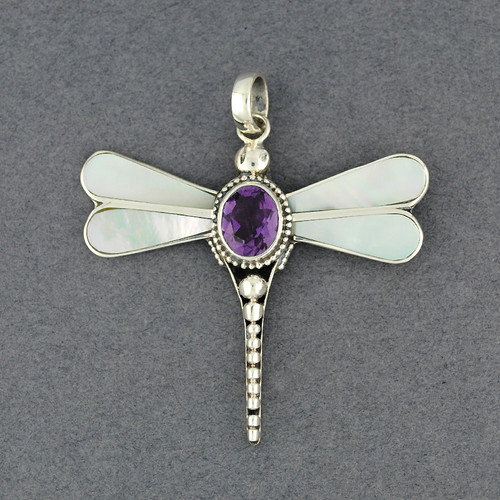 Mother of Pearl & Amethyst Dragonfly Pendant