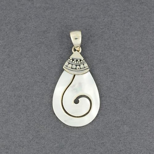 Mother of Pearl Teardrop Spiral Pendant