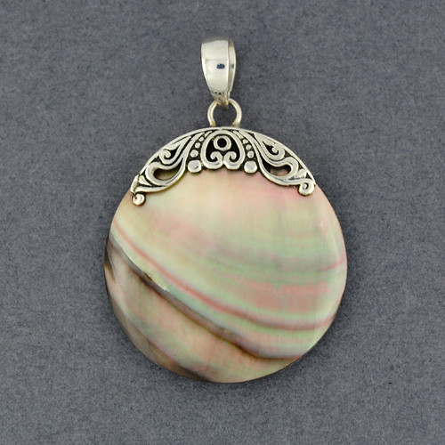 Black Mother of Pearl Disc Pendant