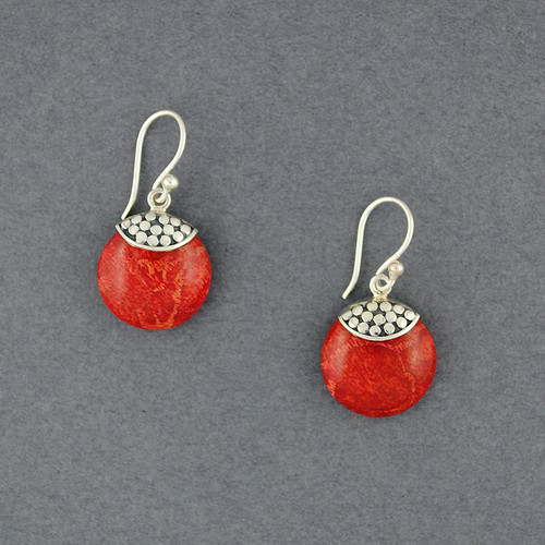 Coral Dotted Mini Circle Earring