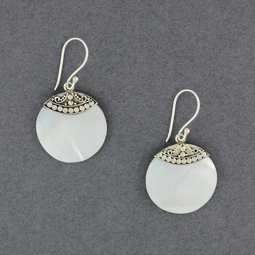 Mother of Pearl Dotted Circle Earrrings
