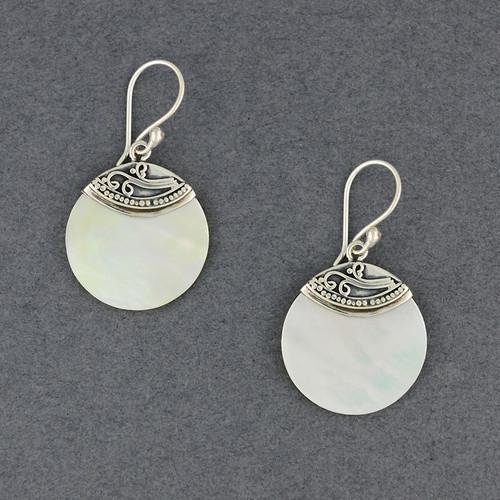 Mother of Pearl Swirl Circle Earrings
