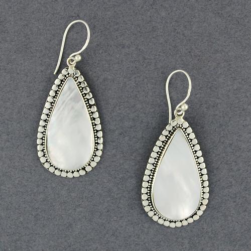 Mother of Pearl Dotted Teardrop Earrings
