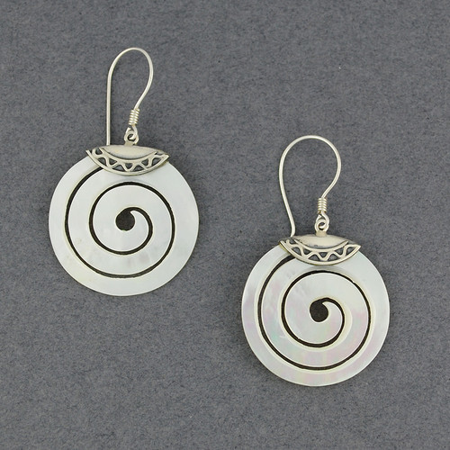 Mother of Pearl Spiral Earrings