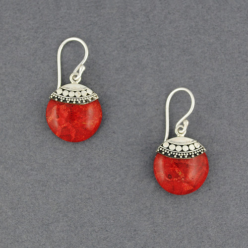 Coral Ornate Mini Circle Earrings