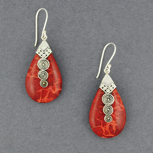 Coral Teardrop with Spirals Earring