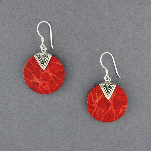 Coral Disc Earrings