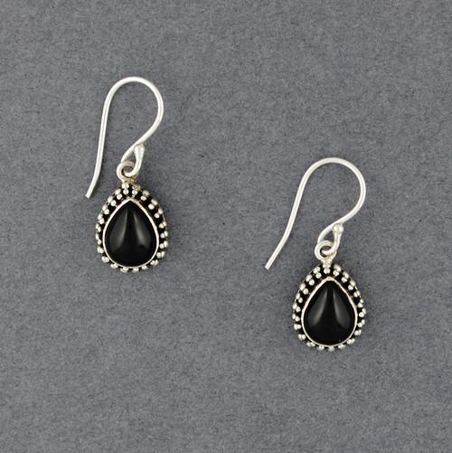 Onyx Teardrop Bezel Earrings