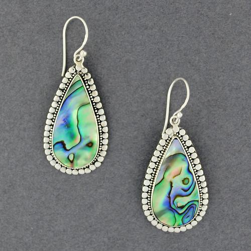 Abalone Dotted Teardrop Earrings