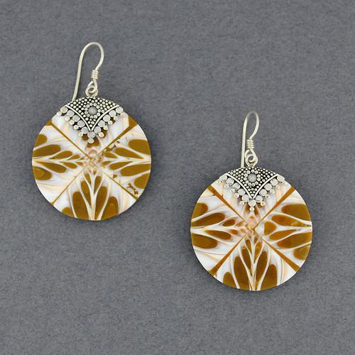 Mosaic Tan & White Shell Earrings