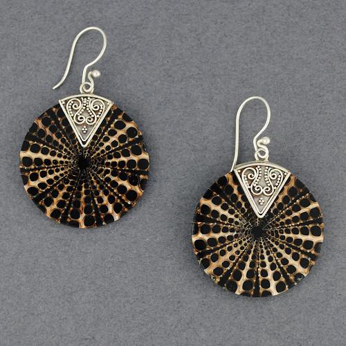 Mosaic Black & Tan Shell Earrings