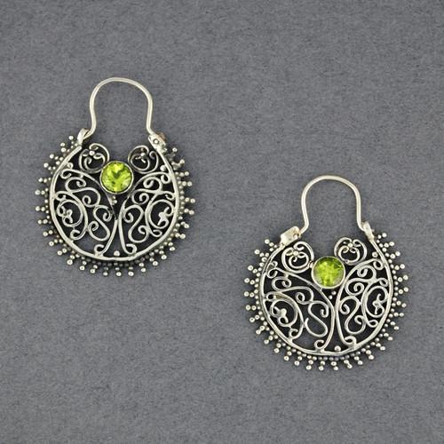 Peridot Ornate Hoop Earrings
