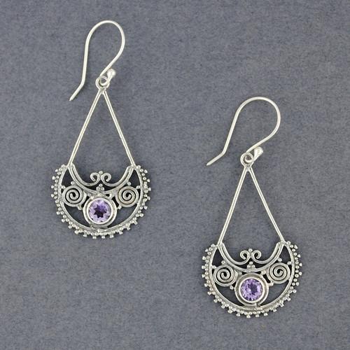 Amethyst Ornate Dangle Earrings
