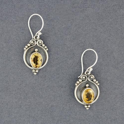 Citrinte Antiqued Oval Earrings
