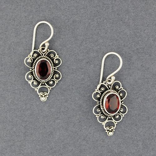 Garnet Ornate Oval Earrings