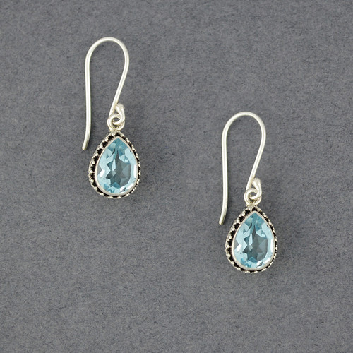 Blue Topaz Ornate Teardrop Earrings