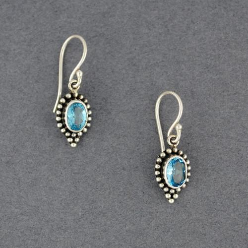 Blue Topaz Dotted Oval Earrings