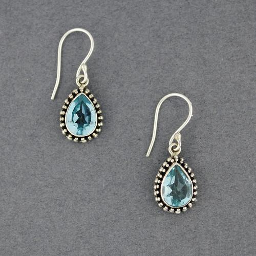 Blue Topaz Dotted Teardrop Earrings