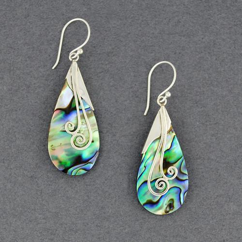 Abalone Spiral Teardrop Earrings