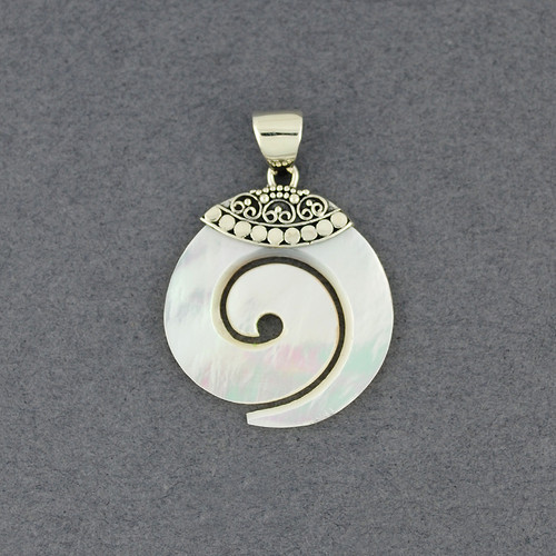 Mother of Pearl Pointed Spiral Pendant