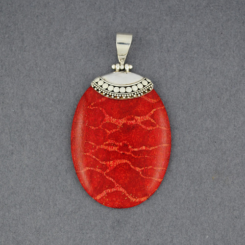 Coral Dotted Oval Pendant