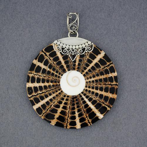 Shiva's Eye Ornate Black & Tan Mosaic Pendant