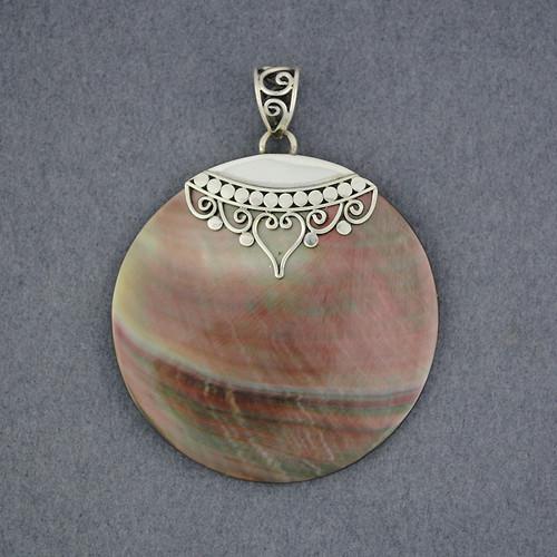 Black Mother of Pearl Ornate Circle Pendant