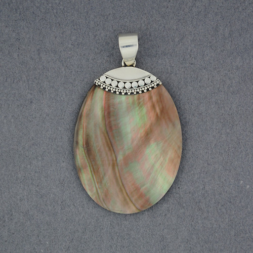 Black Mother of Pearl Oval Pendant