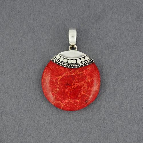 Coral Ornate Circle Pendant