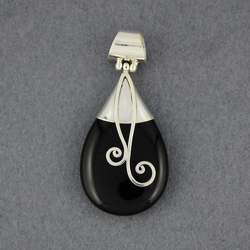 Onyx Teardrop Spirals Pendant