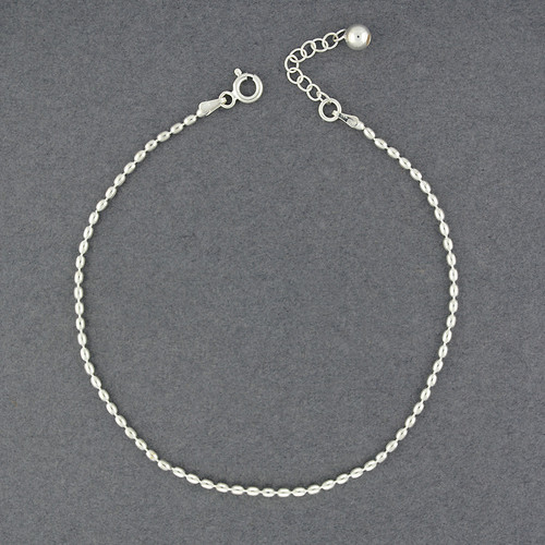 Sterling Silver Oval Beaded Anklet