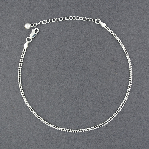 Sterling Silver Double Strand Beaded Anklet