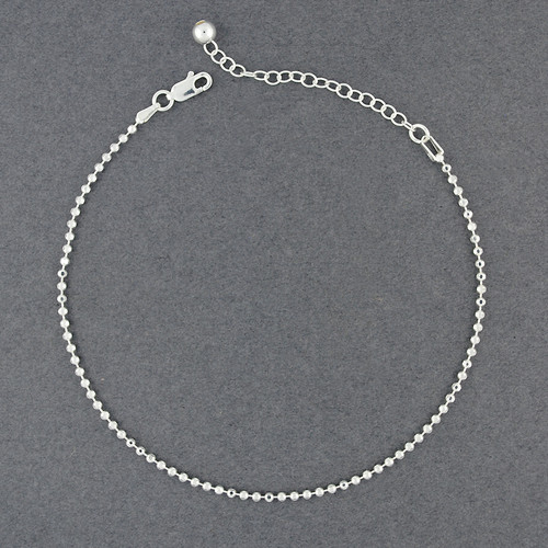 Sterling Silver Diamond Cut Beaded Anklet