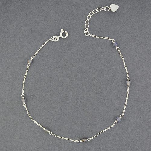 Sterling Silver Iolite Bead Anklet