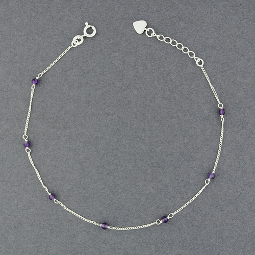 Sterling Silver Amethyst Bead Anklet