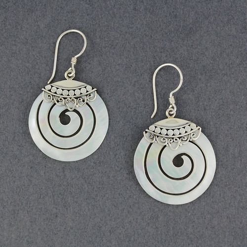 Mother of Pearl Ornate Spiral Earrings