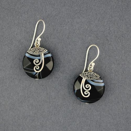 Banded Onyx Spiral Earrings