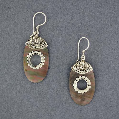 Black Mother of Pearl Ornate Oval Earrings