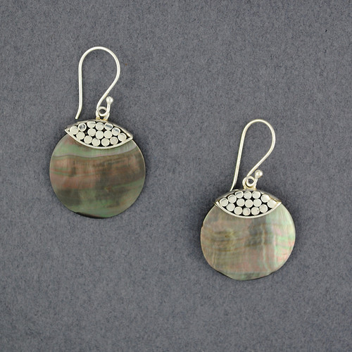 Black Mother of Pearl Dotted Circle Earrings