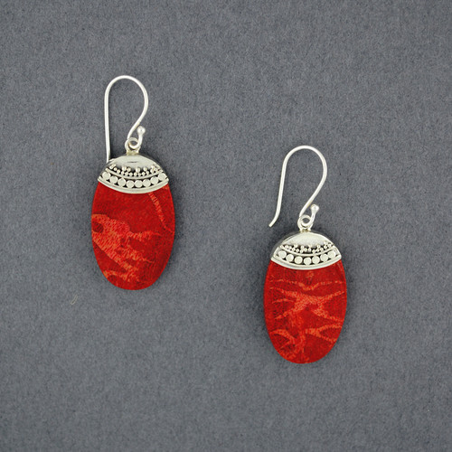 Coral Dotted Oval Earrings