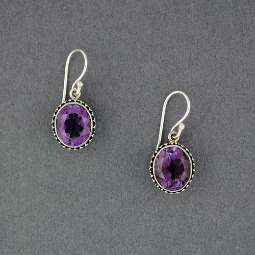 Amethyst Dotted Oval Earrings