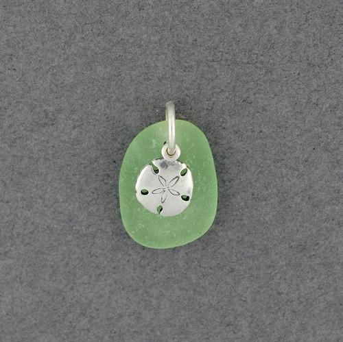 Sterling Silver Sanddollar Charm Sea Glass Pendant