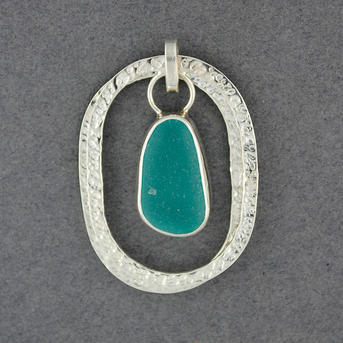 Sterling Silver Nested Oval Sea Glass Pendant