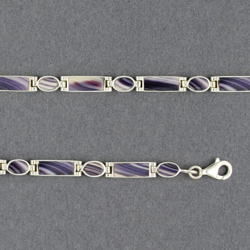Wampum Rectangle and Oval Hinge Bracelet